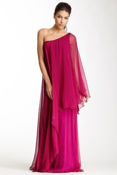 dramatic one shoulder silk gown