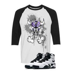 Nike Air Max 2 Uptempo 94 'White & Black' Baseball T (IRON BULL) Nike Air Max 2, Baseball T, Matching Shirts, Street Wear, Iron, Mens Tops, T Shirt, Clothes, Black