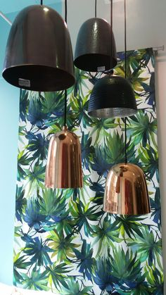 Metallic & tropical prints. LOVE! Tropical Prints, Metallic, Ceiling Lights, Trends, Lighting, Pendant, Home Decor, Light Fixtures, Ceiling Lamps