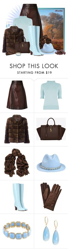 """nr 1824 / Brown & Blue"" by kornitka ❤ liked on Polyvore featuring Prada, Oasis, Arma, Yves Saint Laurent, Black, Valentino, 1st & Gorgeous by Carolee, Saks Fifth Avenue, brownandblue and leatherskirt"
