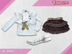 Conjunto más formal para tu pequeña, basado en falda y medias pantalón que le dan un toque muy femenino. http://travesuras.com.co/producto/conjunto-nina-2/