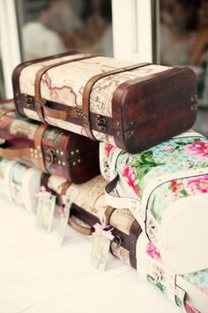 Suitcases.  Could be made with paper or fabric and Mod Podge!