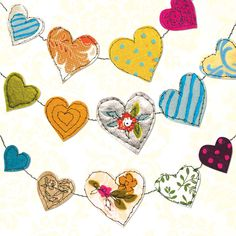 Elegant any-occasion greetings card illustrated with a garland of colourful love hearts, also suitable as a St Valentine's day card - Valentine Day Love, Valentines, Crafts To Do, Paper Crafts, Felt Fabric, Fabric Garland, Garlands, Heart Illustration, Paper Banners