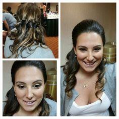 Bridesmaid hair!  Half up,  half down waterfall braid with curls