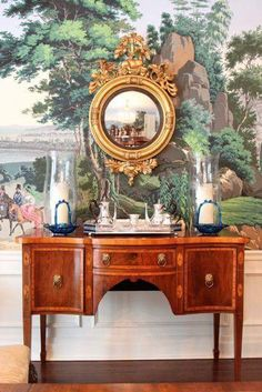 Mural with mirror and console amazing