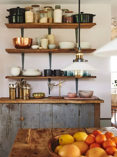 rustic kitchen sideboard and open shelves
