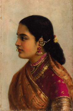 Portrait of a Young Woman in Russet and Crimson Sari - Art Prints by Raja Ravi Varma Ravivarma Paintings, Indian Art Paintings, Vintage India, Vintage Art, Vintage Ladies, Female Portrait, Female Art, Woman Portrait, Raja Ravi Varma