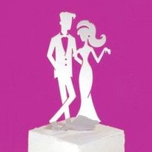 Retro Couple Wedding Cake Topper