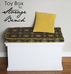 Toy box to storage bench.....I have a toy box just like this!
