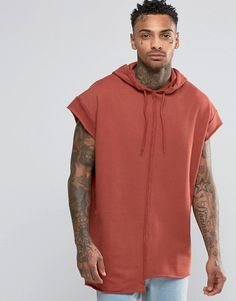 Image 1 of ASOS Short Sleeve Longline Oversize Hoodie With Raw Edges