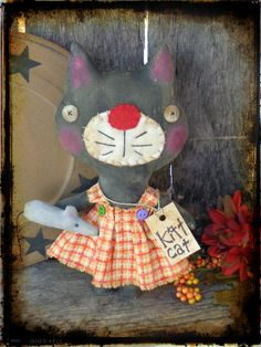 OOAK Primitive Black Cat with Mouse Halloween by CountryLifeisBest