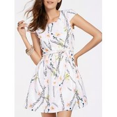 Sweet Jewel Neck Floral Print Chain Pattern Mini Dress For Women from $19.70 by NASTYDRESS