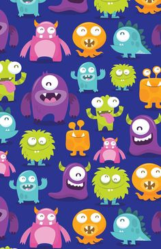 Happy Silly Cute Monsters Art Print