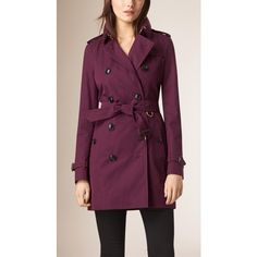 Burberry Lightweight Cotton Gabardine Trench Coat featuring polyvore, women's fashion, clothing, outerwear, coats, burberry coat, purple trench coat, burberry, lightweight trench coat and purple coat