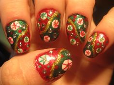 Christmas Peppermint Rain Drops Close Up - Nail Art Gallery nailartgallery.nailsmag.com by NAILS Magazine nailsmag.com #nailart