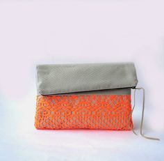 Clutch purse, Fold over. Neon Orange Lace and Grey, Color Block. Other colors available. Grey And Coral, Grab Bags, Classy And Fabulous, Clutch Purse, Orange Color, Fashion Accessories, Neon, Purses, My Style