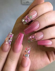 Raspberry Pink Ombre Coffin Nails for Your Finger Red Ombre Nails, Glitter Nails, Roses Tumblr, Manicure, Encapsulated Nails, Fire Nails, Best Acrylic Nails, Dream Nails, Stylish Nails