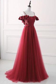 Burgundy sweetheart neck tulle long prom dress, burgundy evening dress #promwhitedress
