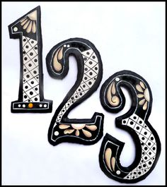 Handcrafted Hand Painted Metal House Numbers Outdoor Decor Decorative Designs