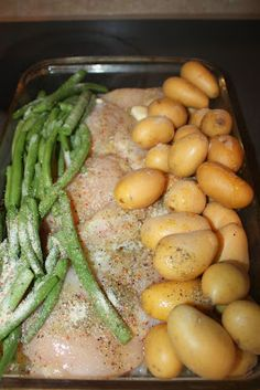 frozen chicken, frozen green beans, cut up potatoes, pack of italian dressing mix, stick of butter (melted) Cover with foil and bake at 350 for hour