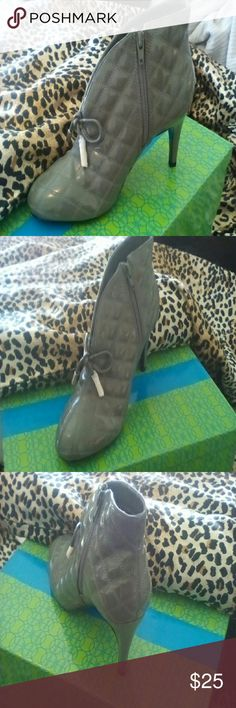 Booties Cute quilted patent booties. Never worn. Zipper side, silver tone hardware on the bow. They are listed as an 8 wide but they are not wide, it's a normal width. Thanks for stopping by! Hot in Hollywood  Shoes Ankle Boots & Booties