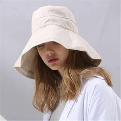 Plain beige wide brim sun hat for women UV package bucket hats outdoor wear