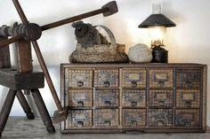 Antique box storage shelving