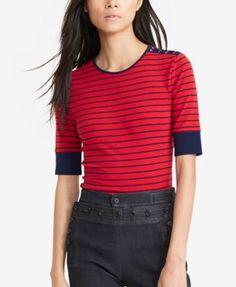 Lauren Ralph Lauren Striped Lace-Shoulder Shirt