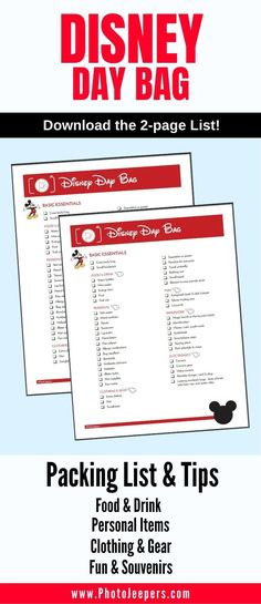 Packing list for a day at Disney with kids: food and drinks; personal items; clothing; and Disney-themed items to buy and pack before the trip! FREE Download of the 2-page list. #disney #disneyland #waltdisneyworld #photojeepers Packing List For Disney, Packing Tips For Travel, Disney Planning, Disney Day, Disney Cruise Line, Disney Theme, Usa Travel Guide, Travel Usa, Disney Vacations