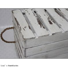Distressed Old Handmade Solid Wood Crate Basket with Rope Handles