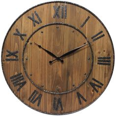 Infinity Instruments Wine Barrel Wall Clock at Lowe's. Infinity Instruments wine barrel wall clock is a wood and steel clock in a traditional barrel design. With a fitting name to this 23 In. wall clock it Farmhouse Wall Clocks, Rustic Wall Clocks, Wooden Clock, Rustic Walls, Rustic Decor, Diy Wall Clocks, Clock Wall, Diy Clock, Wooden Case