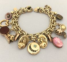 Antique Charm Bracelet  100 Years Old Bracelet  Unique Charm