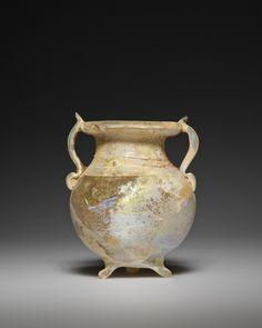 Jar with tripod foot; Unknown; Eastern Mediterranean; 3rd century; Glass; 7 x 6 cm (2 3/4 x 2 3/8 in.); 2003.392