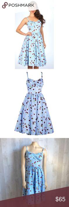472f5e8ca0 [Stop Staring] Retro Blue Cherry Print Dress Stop Staring! Size XS Retro  Blue