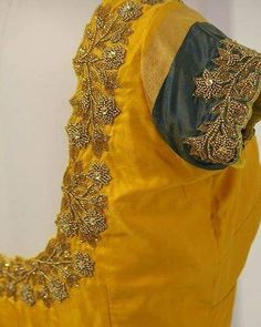 Sparkle and Shine in our Yellow and Gold embroidered blouse! For Price and Other details reach us at or Whatsapp: 9789903599 Address: Valmiki street, Thiruvanmyur, Chennai. Cutwork Blouse Designs, Wedding Saree Blouse Designs, Pattu Saree Blouse Designs, Simple Blouse Designs, Dress Designs, Designer Blouse Patterns, Maggam Works, Sarees, Embroidered Blouse