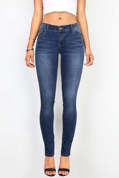 aba265d1b9 Stretchy basic skinny jeans with traditional 5 pockets with button and zip  fly closure. Has