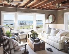 Nautical Home - love the exposed rafters