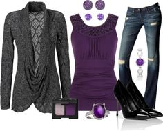 """Amethyst & Grey"" by stay-at-home-mom on Polyvore"