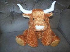 Toy Factory LONGHORN STEER Brown Plush Bull Cream Nose Horns Brown Ears Hooves