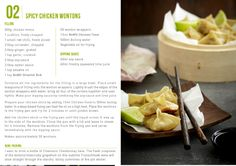 nomu recipes cards #thingsdeeloves 3 Chicken Wontons, Wonton Wrappers, South African Recipes, Frying Oil, Red Chilli, Recipe Cards, Coriander, Spicy, Good Food