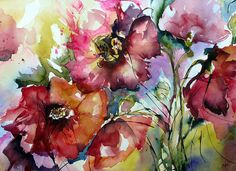 watercolor poppies... I can't find the original link though :(