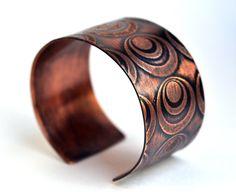 Handmade Copper Cuff Bracelet Etched Bullseye Circles, by KarlaWheelerDesign
