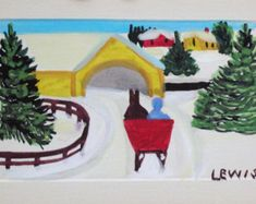 Primitive Rug Hooking Maud Lewis Pattern - Covered Bridge with Sleigh
