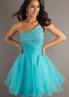 One Shoulder Turquoise Short Graduation Dresses
