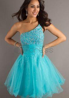 One Shoulder Turquoise Short Graduation Dresses
