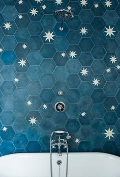 Love everything about this tile- the stars and color, tonal differences, the imperfections, the handmade look!!!
