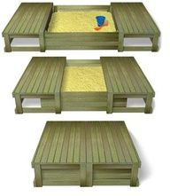 Lidded sandpit. Awesome idea to cover it up so it is not a bathroom for animals :)  or maybe hiding place for under the bed.