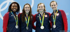 Women's 4x100m Free, Swimming  -     Silver medalists Simone Manuel, Abbey Weitzeil, Dana Vollmer and Kate Ledecky pose at the medal ceremony for the final of the women's 4x100-meter freestyle relay at the Rio 2016 Olympic Games at the Olympic Aquatics Stadium on Aug. 6, 2016 in Rio de Janeiro.