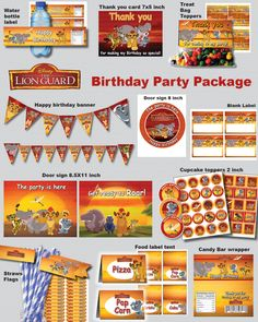 INSTANT DL- Lion Guard birthday party package kit Digital JPEG file disney junior (non personaized) by foxisgone on Etsy https://www.etsy.com/listing/449835328/instant-dl-lion-guard-birthday-party