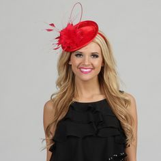 @Overstock - Perfect for a formal occasion or a social event, this fascinator will be a big hit. This fascinator is hand-made and beautifully constructed of a wool blend with velvet accents and eye-catching feathers.http://www.overstock.com/Clothing-Shoes/Swan-Womens-Red-Velvet-and-Feather-Embellished-Cocktail-Fascinator/7576809/product.html?CID=214117 $39.99